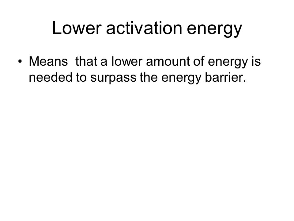 Lower activation energy