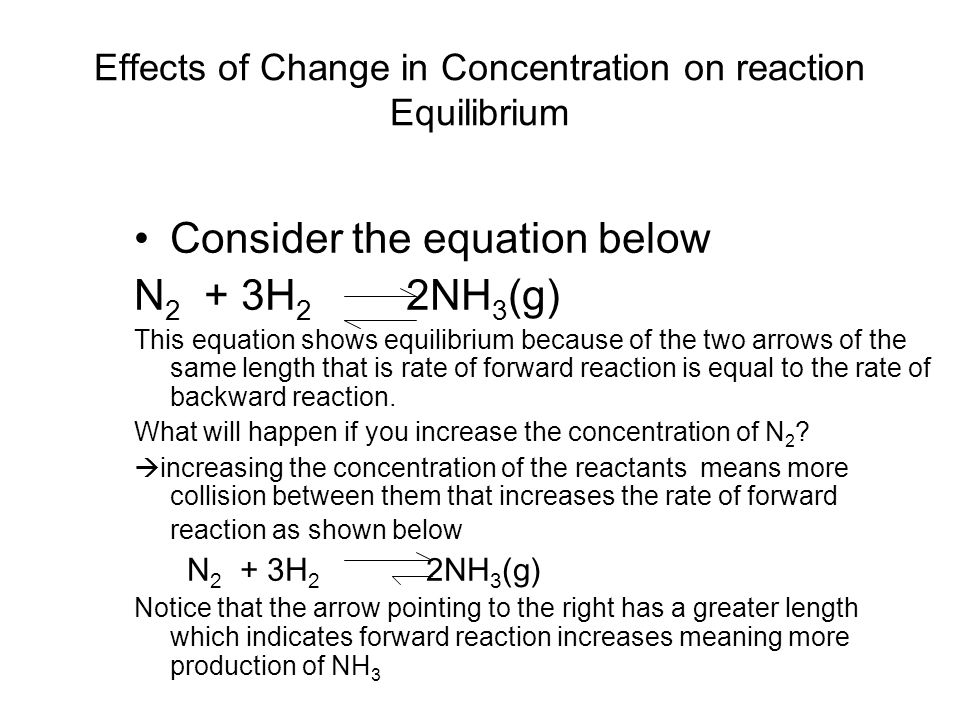 Effects of Change in Concentration on reaction Equilibrium