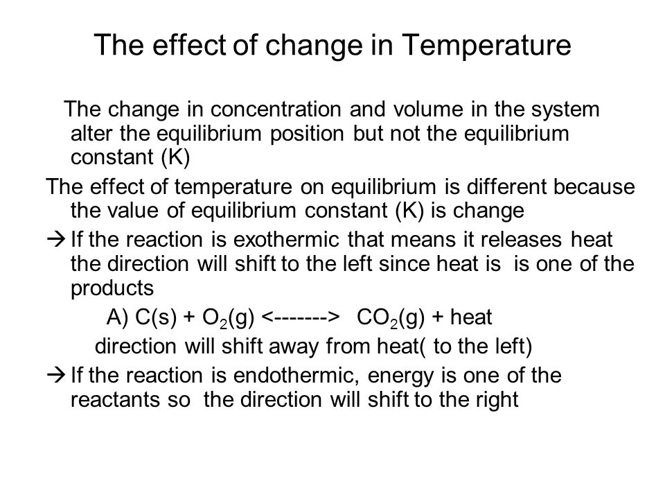 The effect of change in Temperature