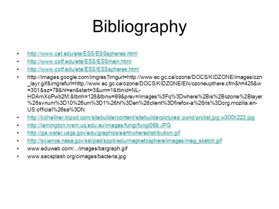 Bibliography http://www.cet.edu/ete/ESS/ESSspheres.html