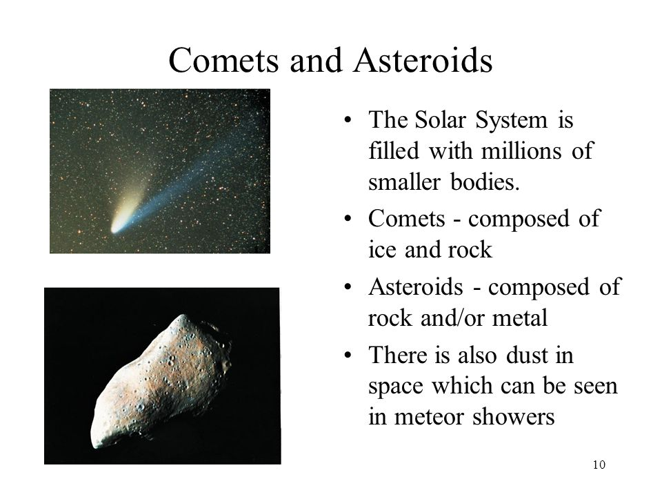 Comets and Asteroids The Solar System is filled with millions of smaller bodies. Comets - composed of ice and rock.
