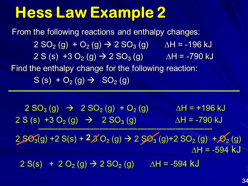 2 SO3 (g)  2 SO2 (g) + O2 (g) DH = +196 kJ