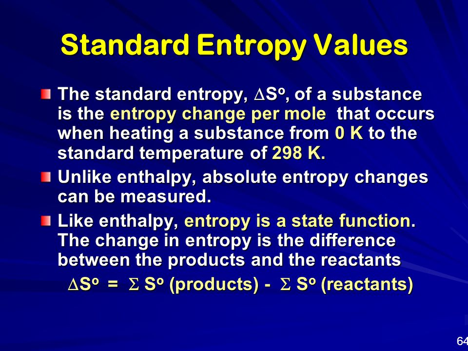 Standard Entropy Values