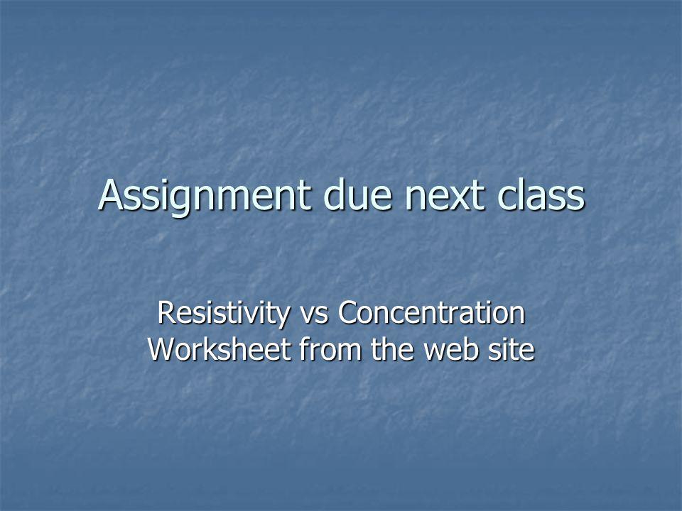 Assignment due next class
