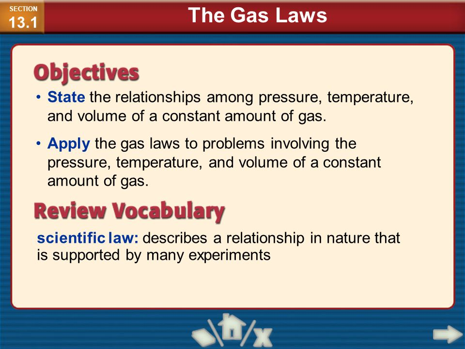 SECTION13.1 The Gas Laws. State the relationships among pressure, temperature, and volume of a constant amount of gas.