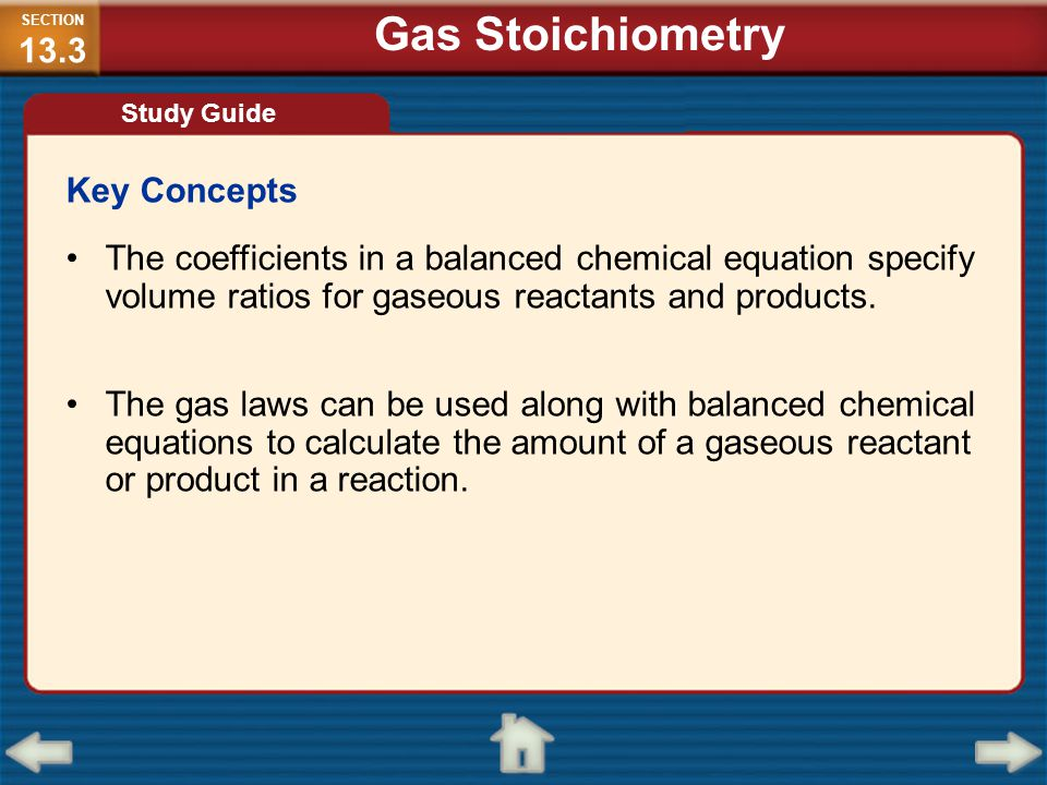 Gas Stoichiometry Key Concepts