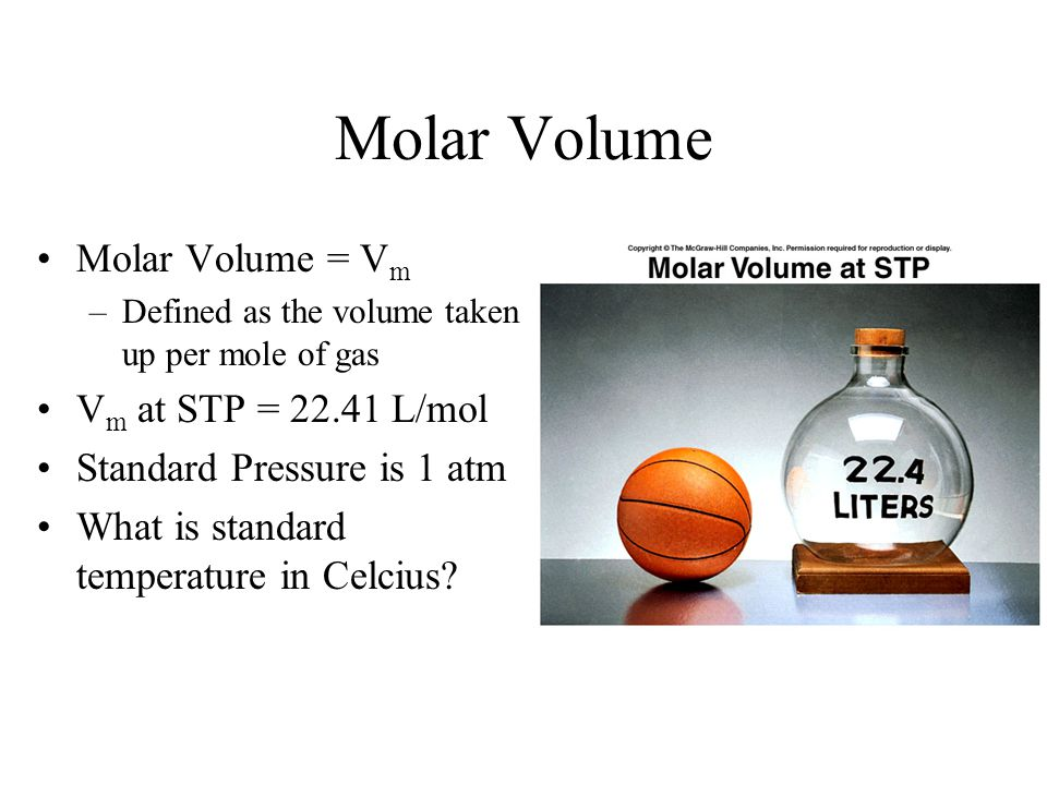 Molar Volume Molar Volume = Vm Vm at STP = 22.41 L/mol