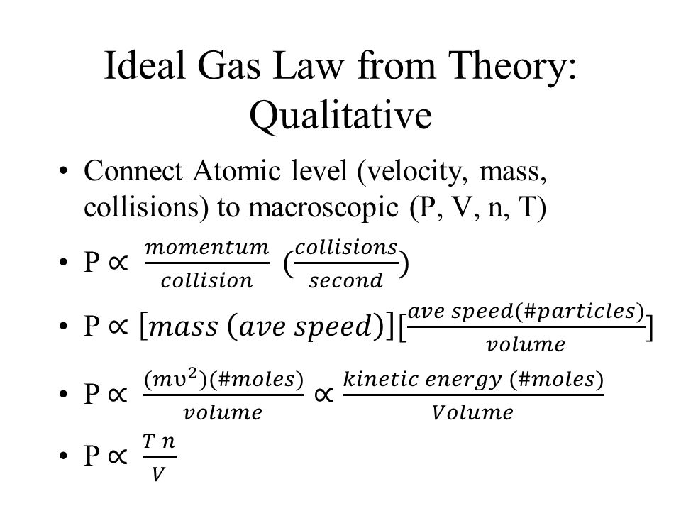 Ideal Gas Law from Theory: Qualitative