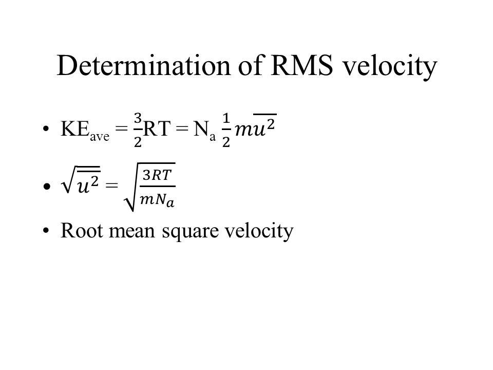 Determination of RMS velocity