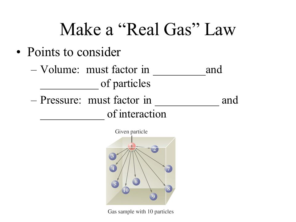 Make a Real Gas Law Points to consider