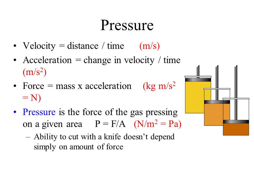 Pressure Velocity = distance / time (m/s)