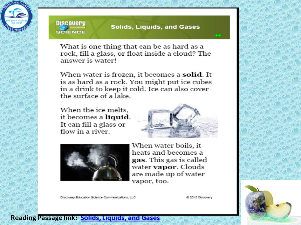 Reading Passage link: Solids, Liquids, and Gases
