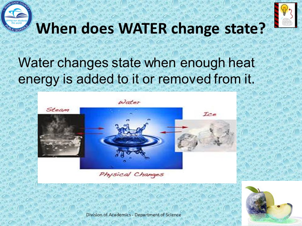 When does WATER change state