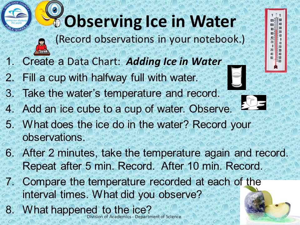 Observing Ice in Water (Record observations in your notebook.)