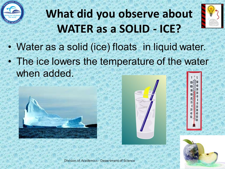 What did you observe about WATER as a SOLID - ICE