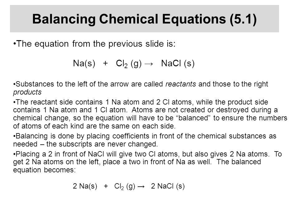 Balancing Chemical Equations (5.1)