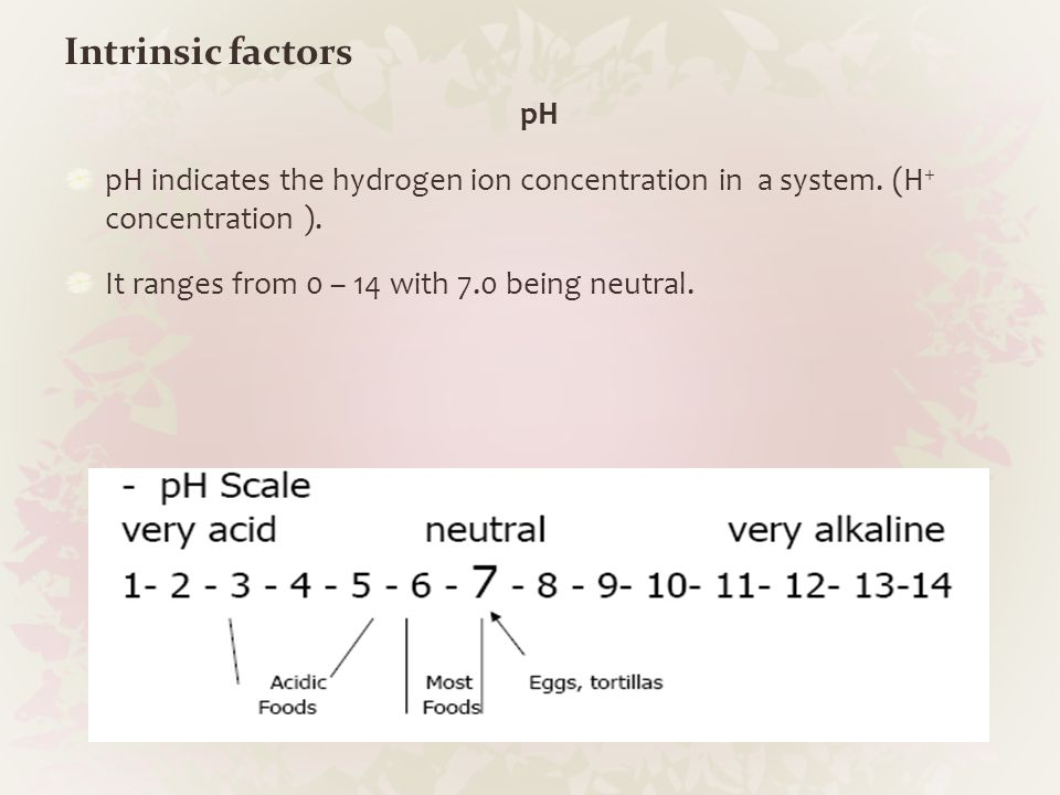Intrinsic factors pH. pH indicates the hydrogen ion concentration in a system. (H+ concentration ).