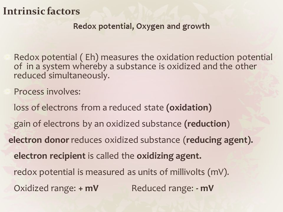 Redox potential, Oxygen and growth