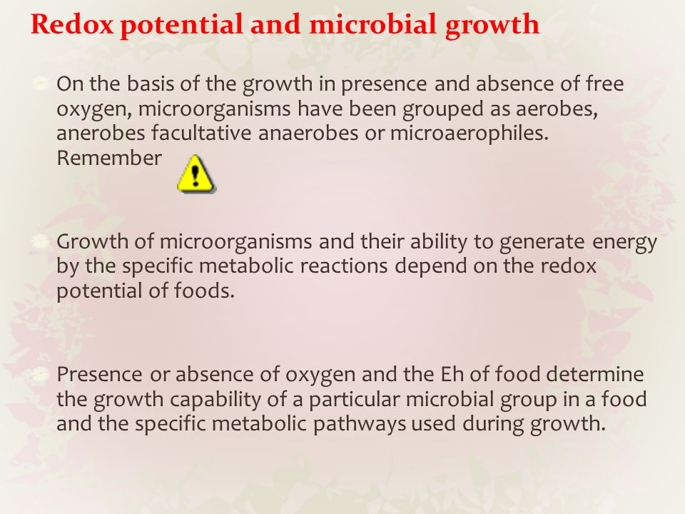 Redox potential and microbial growth