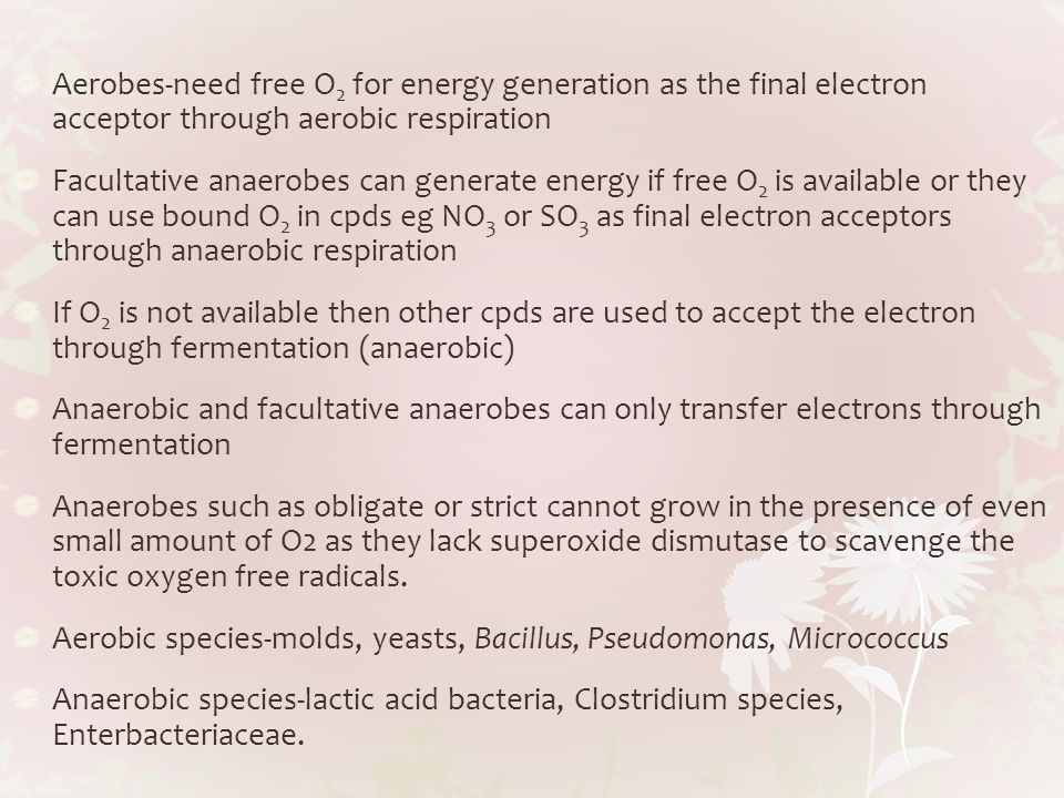 Aerobes-need free O2 for energy generation as the final electron acceptor through aerobic respiration