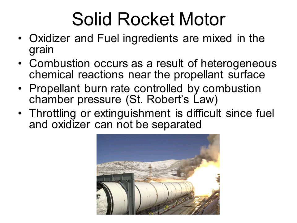 Solid Rocket Motor Oxidizer and Fuel ingredients are mixed in the grain.