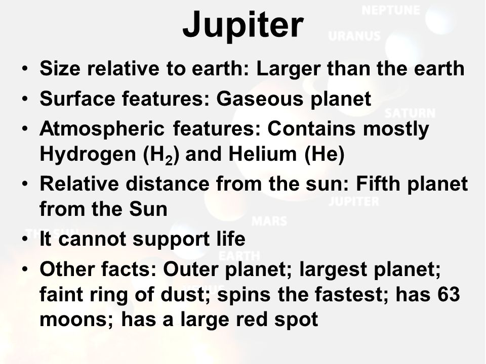 Jupiter Size relative to earth: Larger than the earth