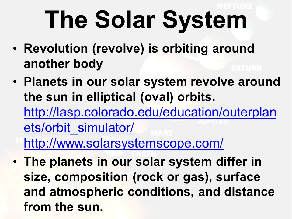 The Solar System Revolution (revolve) is orbiting around another body