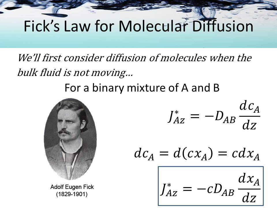 Fick's Law for Molecular Diffusion