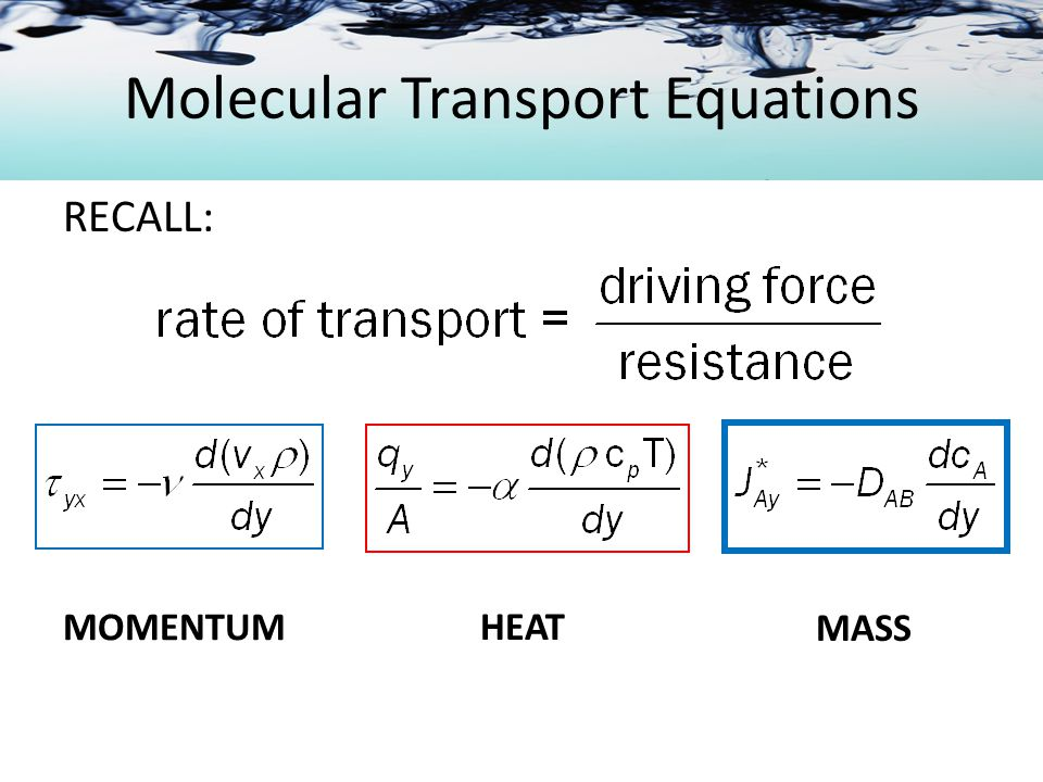 Molecular Transport Equations