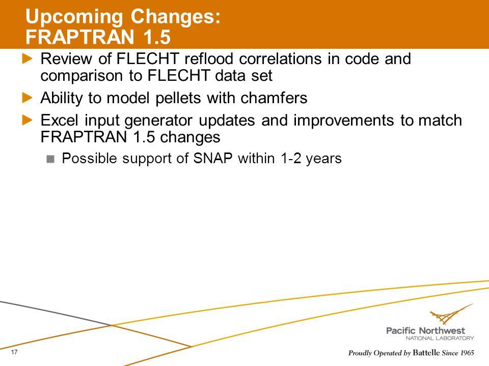 Upcoming Changes: FRAPTRAN 1.5