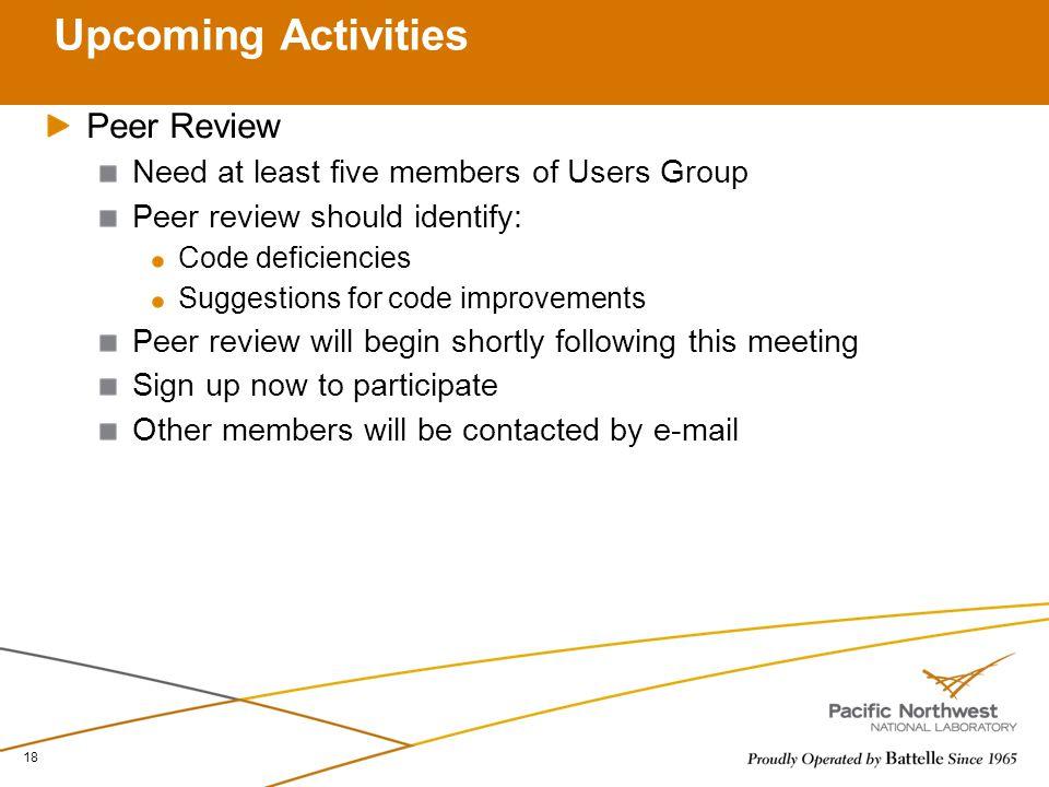 Upcoming Activities Peer Review
