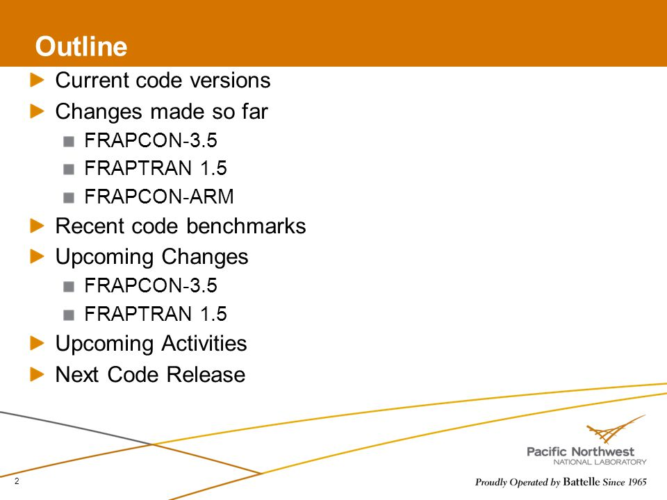 Outline Current code versions Changes made so far