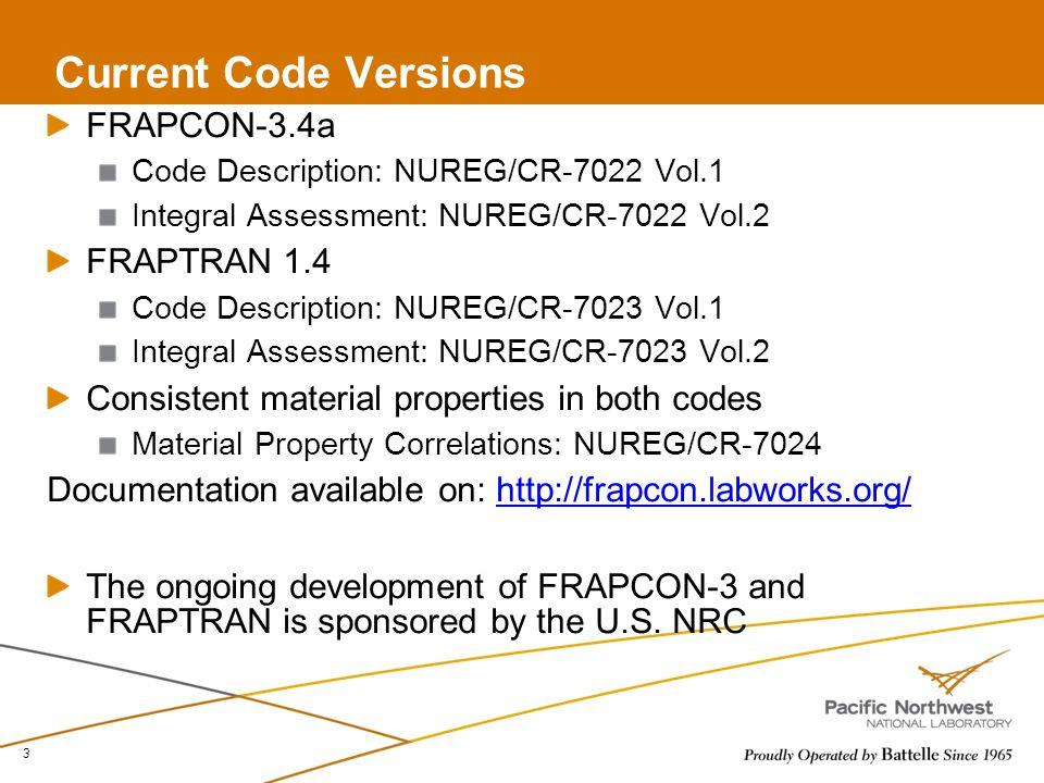 Current Code Versions FRAPCON-3.4a FRAPTRAN 1.4
