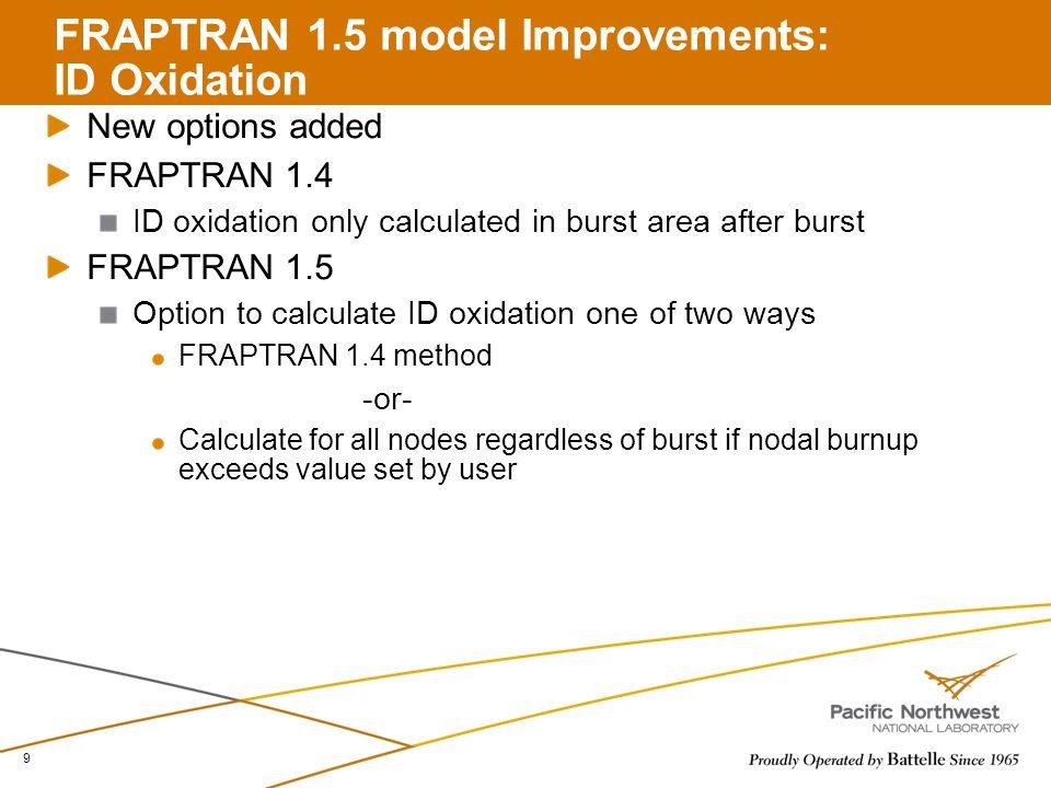 FRAPTRAN 1.5 model Improvements: ID Oxidation