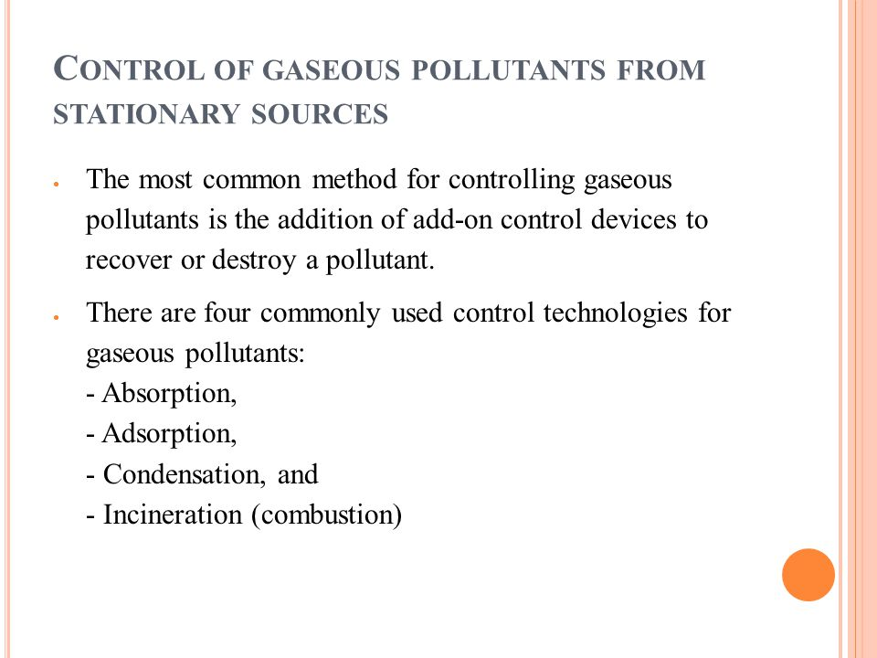 Control of gaseous pollutants from stationary sources