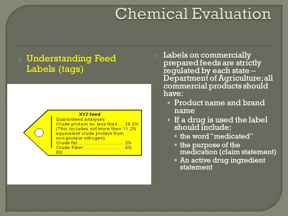 Chemical Evaluation Understanding Feed Labels (tags)