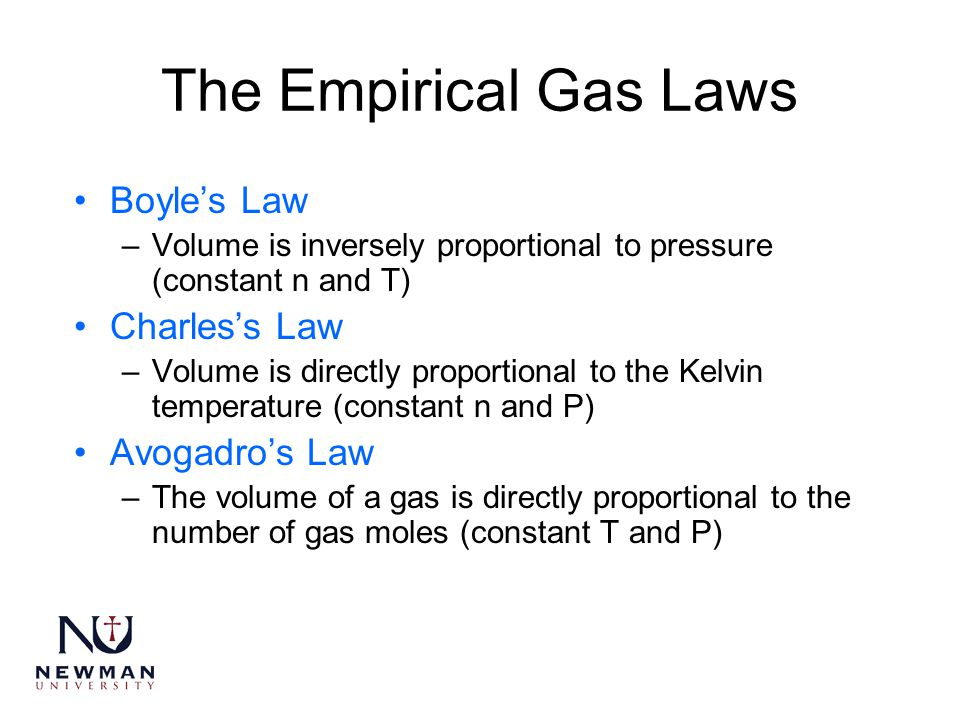 The Empirical Gas Laws Boyle's Law Charles's Law Avogadro's Law