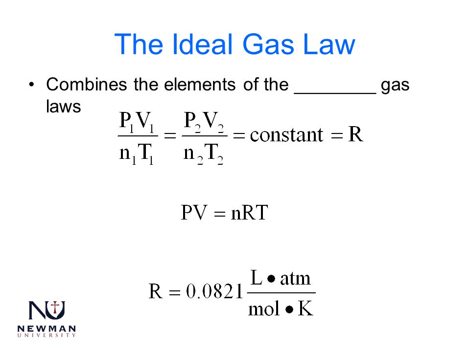 The Ideal Gas Law Combines the elements of the ________ gas laws