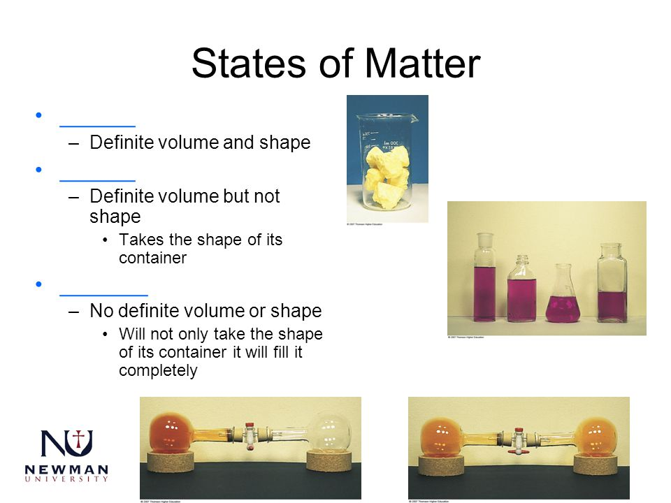 States of Matter ______ _______ Definite volume and shape