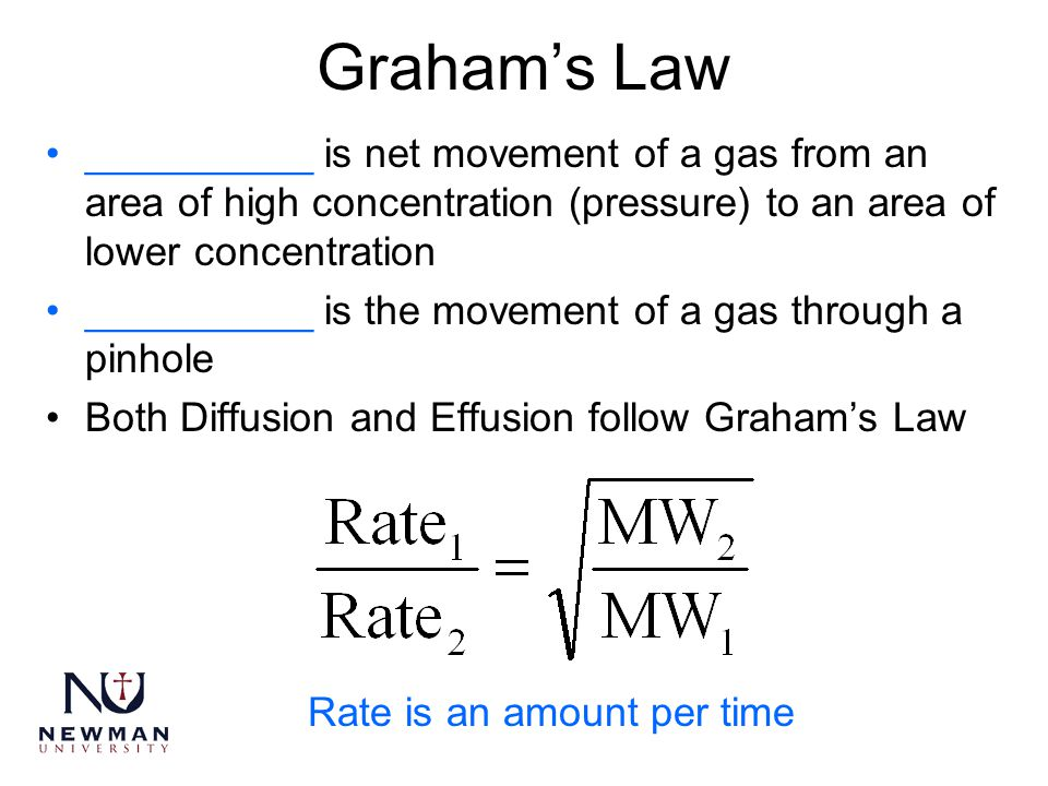 Graham's Law __________ is net movement of a gas from an area of high concentration (pressure) to an area of lower concentration.