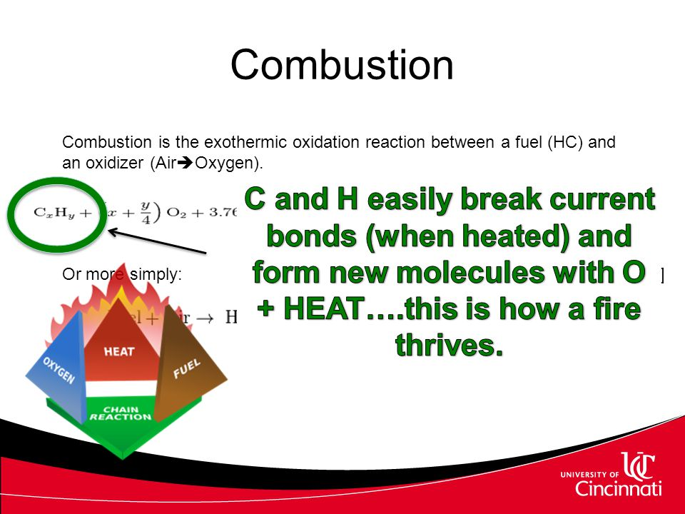 Combustion Combustion is the exothermic oxidation reaction between a fuel (HC) and an oxidizer (AirOxygen).