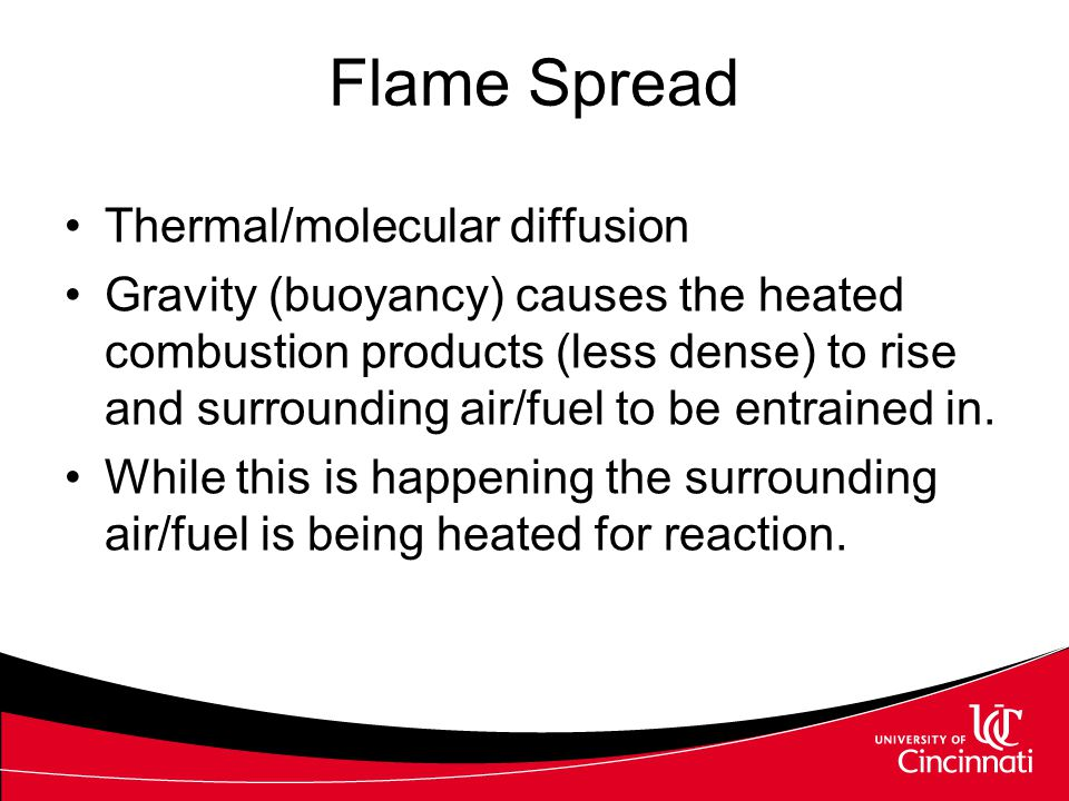 Flame Spread Thermal/molecular diffusion