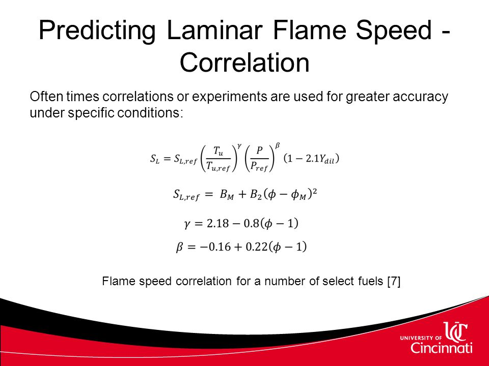 Predicting Laminar Flame Speed - Correlation