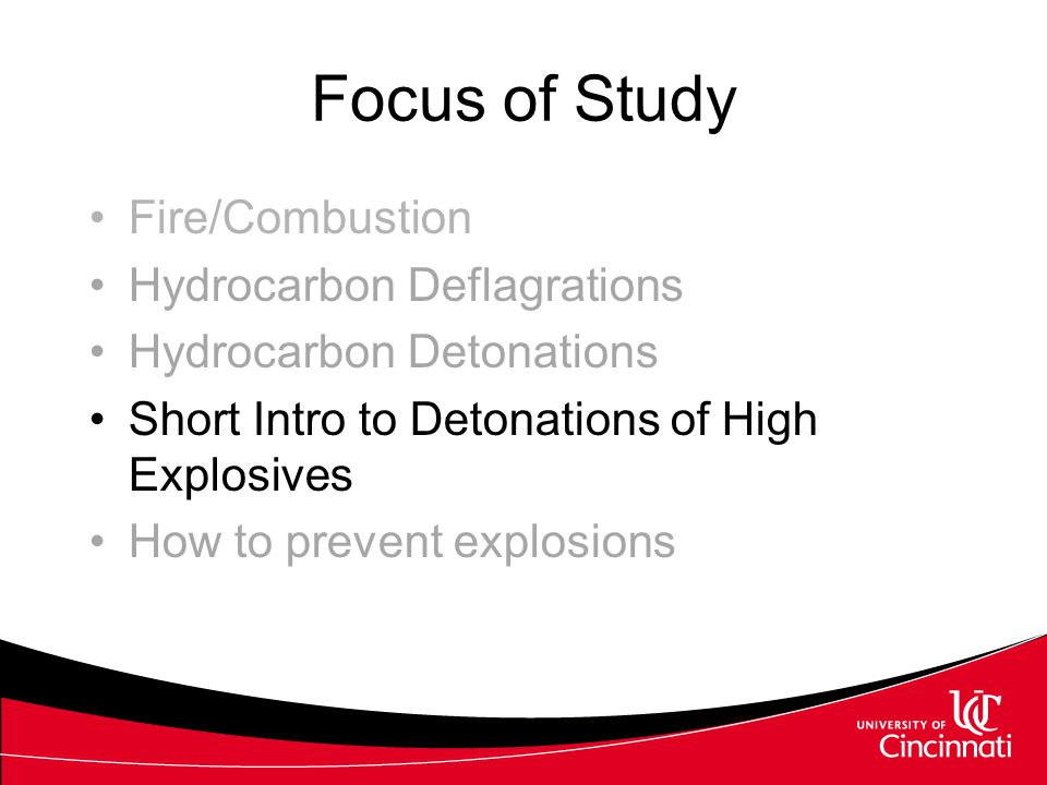 Focus of Study Fire/Combustion Hydrocarbon Deflagrations