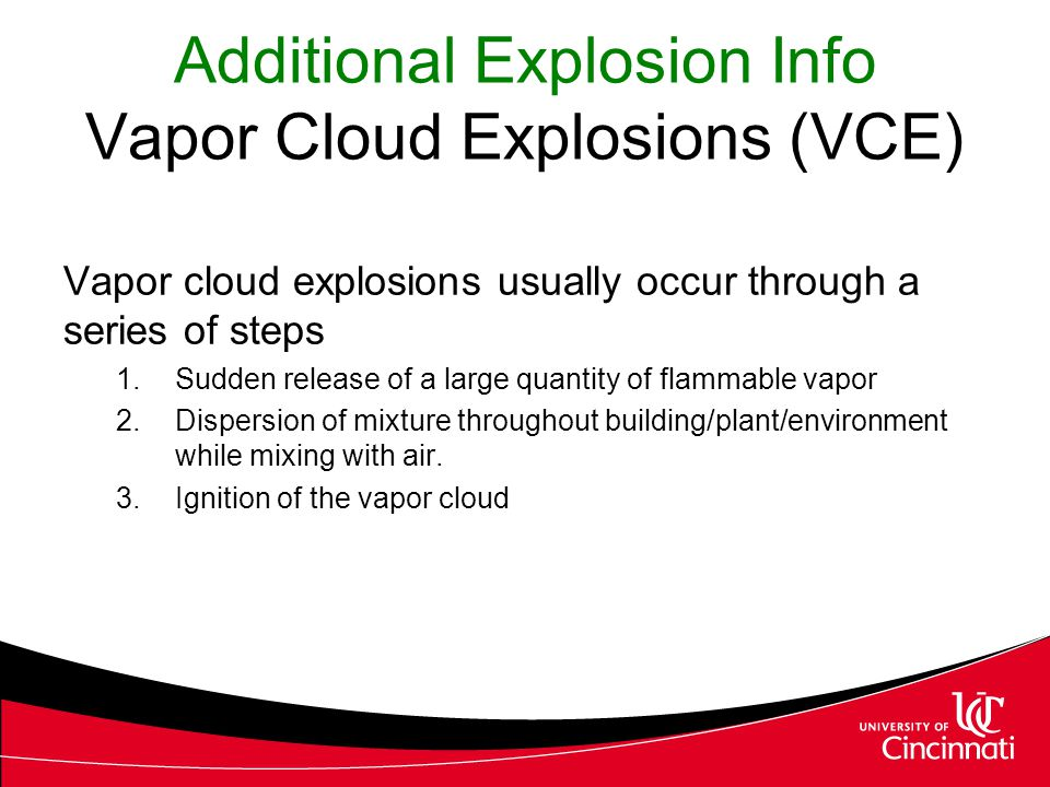 Additional Explosion Info Vapor Cloud Explosions (VCE)