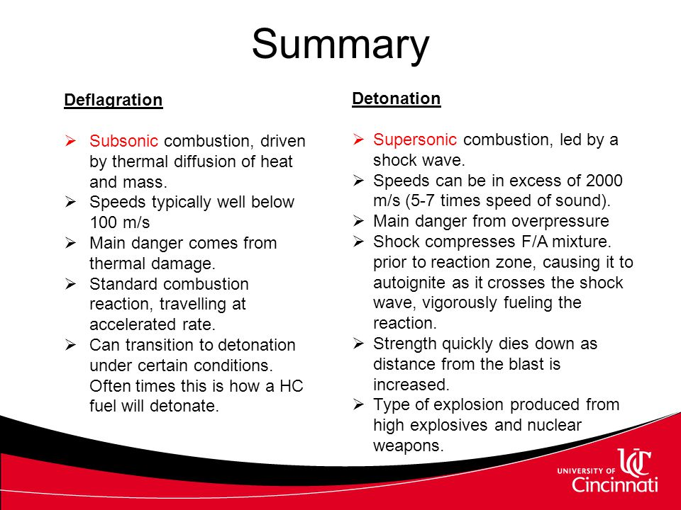 Summary Deflagration Detonation