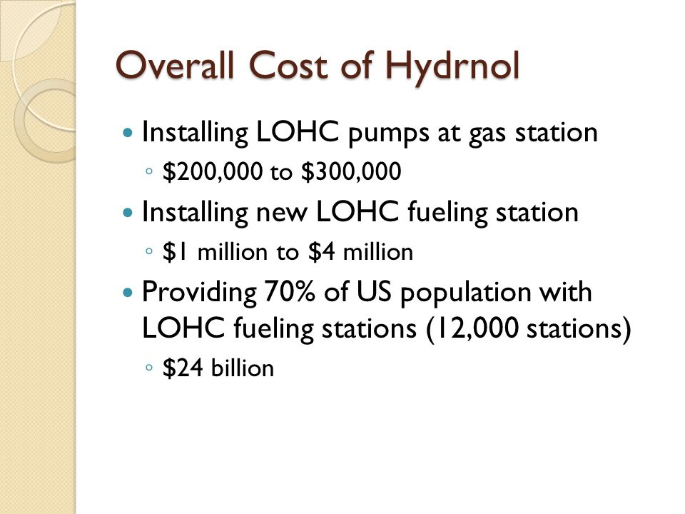 Overall Cost of Hydrnol