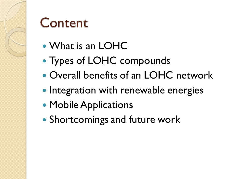 Content What is an LOHC Types of LOHC compounds
