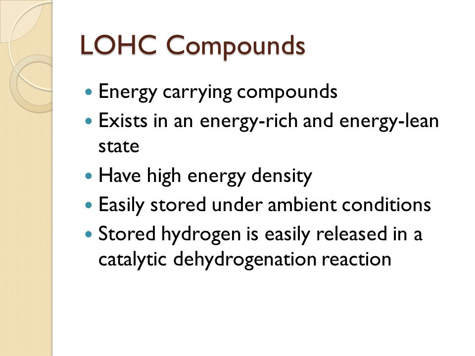 LOHC Compounds Energy carrying compounds