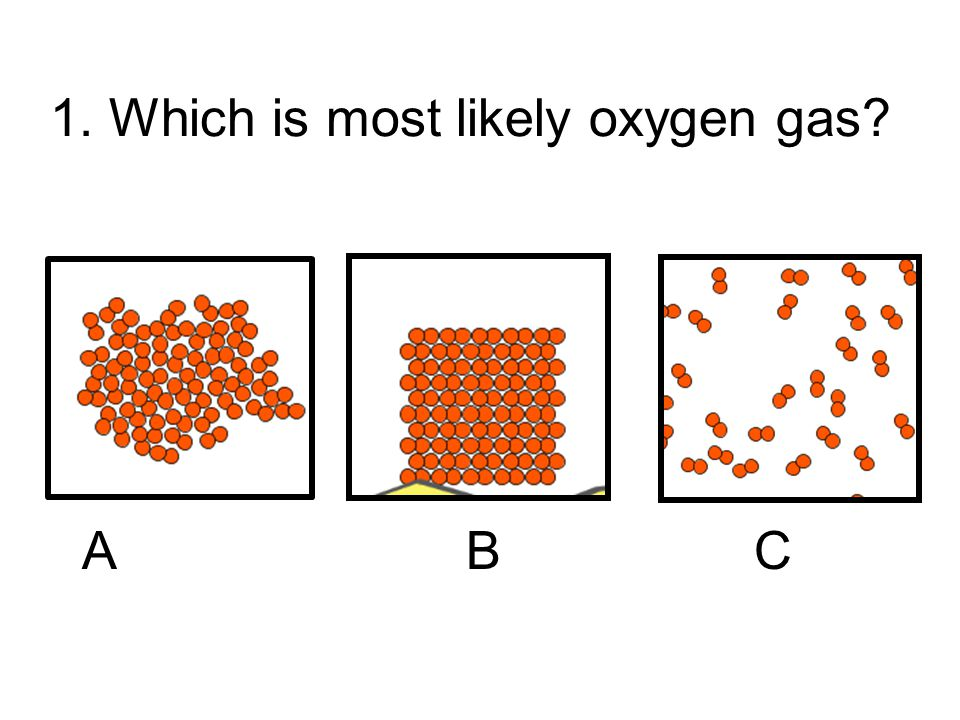 1. Which is most likely oxygen gas